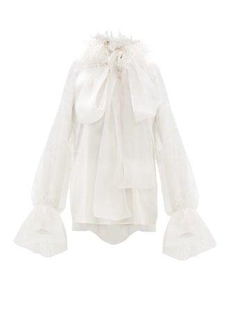Luana feathered silk-satin organza blouse