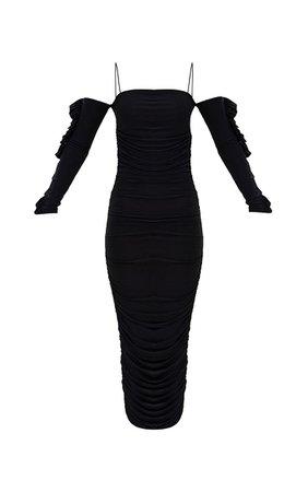 Black Ruched Cold Shoulder Midi Dress. Dresses   PrettyLittleThing