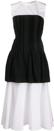 Pleated Corset Flared Dress