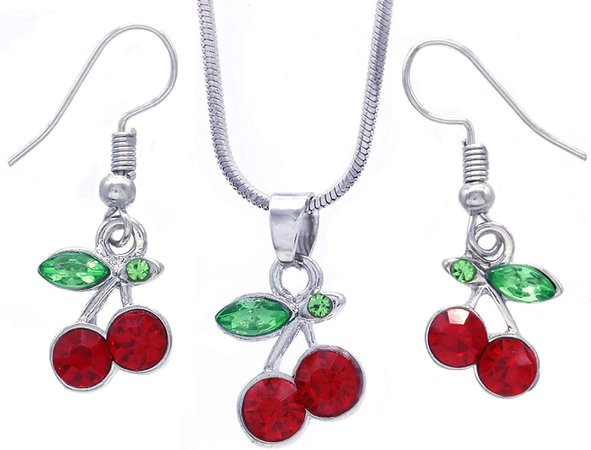Amazon.com: SoulBreeze Green Leaf Red Fruit Cherry Dangle Earrings Red Green Rhinestones Fashion Jewelry (Red Dangle Set): Clothing