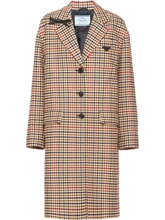 Prada check-pattern single-breasted Coat - Farfetch