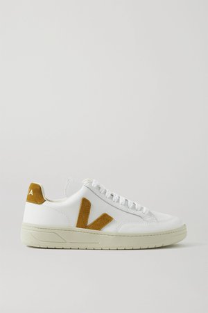 White + NET SUSTAIN V-12 suede-trimmed leather sneakers   Veja   NET-A-PORTER