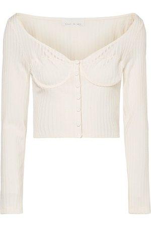 Fleur du Mal | Cropped button-embellished ribbed-knit top | NET-A-PORTER.COM