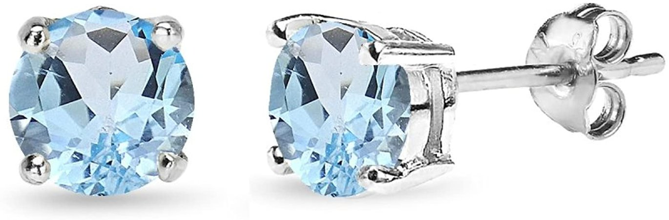 Amazon.com: Sterling Silver Blue Topaz 6mm Round-Cut Solitaire Stud Earrings: Clothing