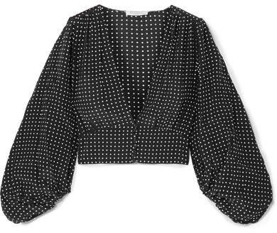 Sola Cropped Polka-dot Silk Crepe De Chine Top - Black