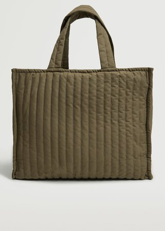 Quilted shopper bag - Women   Mango USA