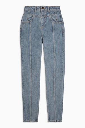 Bleach Yoke Panel Mom Jeans | Topshop blue