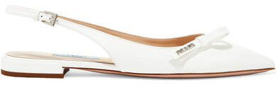 Textured-leather Slingback Flats - White