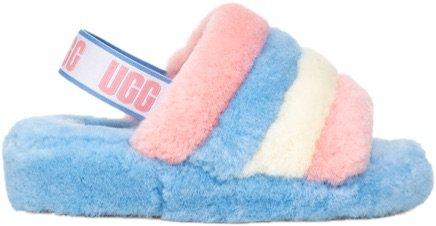 blue pink and white ugg slides ✨