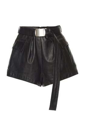 Belted Leather Shorts by Philosophy di Lorenzo Serafini