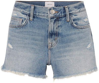 The Boyfriend Distressed Denim Shorts - Mid denim