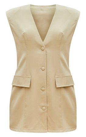 Stone Sleeveless Oversized Shoulder Pad Blazer Dress | PrettyLittleThing USA