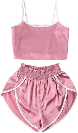 ZAFUL Women's Sport 2 Pieces Satin Set Spaghetti Strap Crop Tank Top and Dolphin Shorts(Pink, L) at Amazon Women's Clothing store