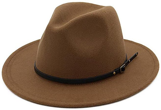 Lisianthus Women Belt Buckle Fedora Hat Dark-Camel at Amazon Women's Clothing store