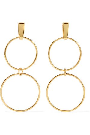 NATASHA SCHWEITZER Loop gold-plated earrings$330