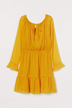 Short Chiffon Dress - Yellow
