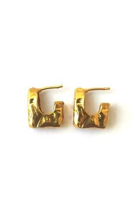 Nur Gold-Plated Hammered Hoop Earrings By Reggie | Moda Operandi