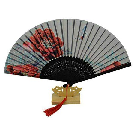Chitao Chinese Traditional Folk Crafts Home Decor Folding Paper Fan Chinese Vintage Handheld Xuan Paper Fan with Flower Painting Silk Tassel and Bamboo Frame Floding Hand Fan Custom Gifts for Womens: Amazon.co.uk: Kitchen & Home