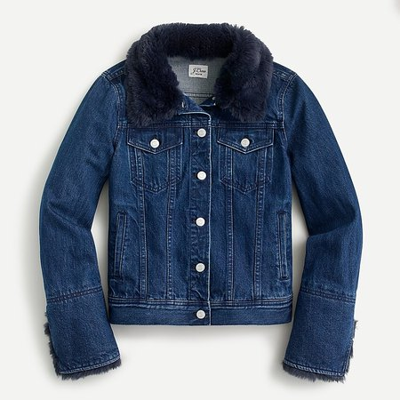 J.Crew: Classic Denim Jacket With Faux Fur For Women blue