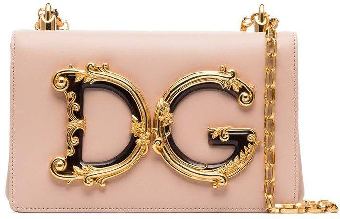 Girls logo-embellished leather shoulder bag