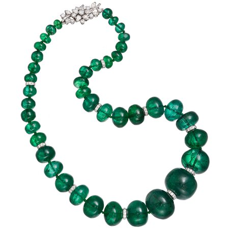 Bvlgari, emerald bead necklace with diamond clasp
