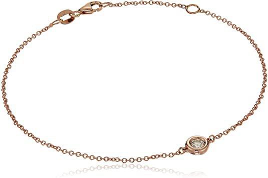 Amazon.com: 14k Rose Gold Solitaire Bezel Set Diamond with Lobster Clasp Strand Bracelet (1/10cttw, J-K Color, I2-I3 Clarity): Clothing