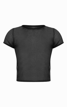 Black Sheer Mesh T Shirt | PrettyLittleThing USA