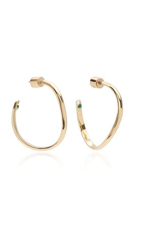 Calypso Emerald Crystal Curved Hoop Earrings by DEMARSON | Moda Operandi