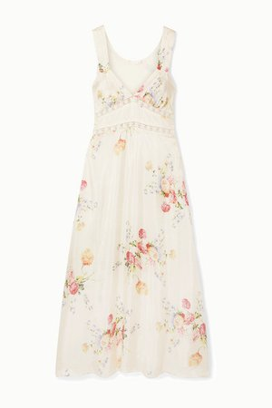 LoveShackFancy | Sabina lace-trimmed floral-print silk-satin midi dress | NET-A-PORTER.COM