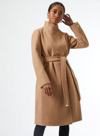 DP Petite Camel Belted Coat | Dorothy Perkins