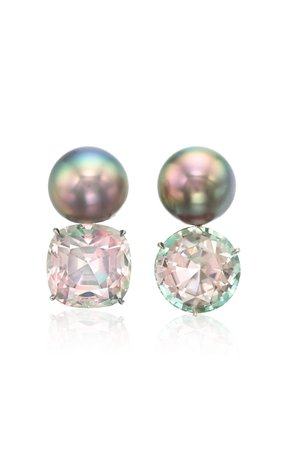 One of a Kind Platinum Mismatched Bi-Color Earrings by Assael   Moda Operandi