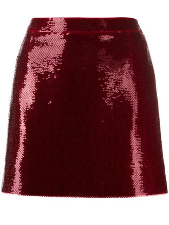 Saint Laurent Sequinned Mini Skirt 582603Y210W Red   Farfetch