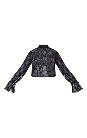 Plus Black Lace High Neck Frill Cuff Blouse   PrettyLittleThing