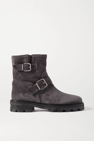 Gray Youth II buckled suede ankle boots | Jimmy Choo | NET-A-PORTER