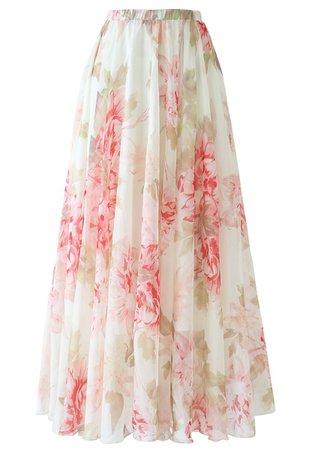 Brilliant Floral Watercolor Maxi Skirt - Retro, Indie and Unique Fashion