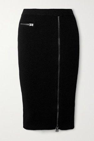 Ribbed Wool-blend Midi Skirt - Black