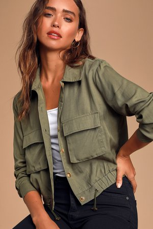 Cute Olive Green Jacket - Collared Coat - Utility Jacket - Lulus