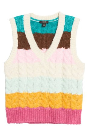 Halogen® x Atlantic-Pacific Stripe Cable Knit Sweater Vest (Nordstrom Exclusive) | Nordstrom