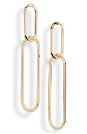 Halogen® Elongated Oval Link Linear Earrings | Nordstrom