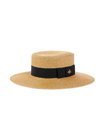 Shop brown Gucci bee-embellished boater hat with Express Delivery - Farfetch