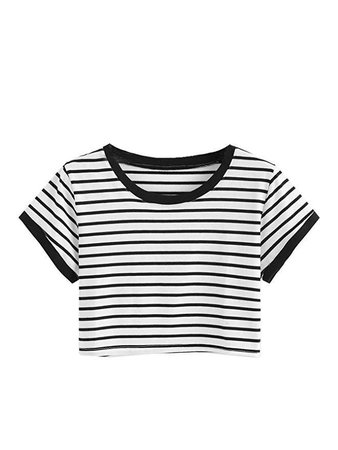 Amazon.com: SweatyRocks Women's Short Sleeve Striped Crop T-Shirt Casual Tee Tops: Clothing
