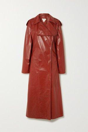 Crinkled Glossed Leather Trench Coat - Orange