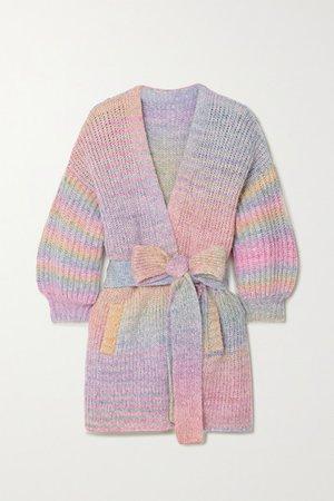 LoveShackFancy | Brady belted striped knitted cardigan | NET-A-PORTER.COM