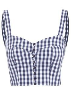 blue white checked top