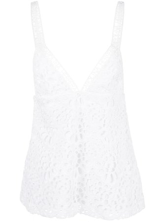 white camisole embroidery top