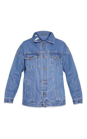 Aymeline Light Wash Distressed Oversized Denim Jacket   PrettyLittleThing USA