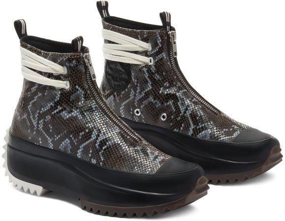 Run Star Hike Snake Embossed Leather High Top Sneaker
