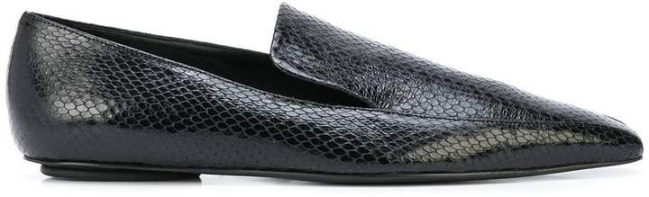 Embossed Square-Toe Loafers
