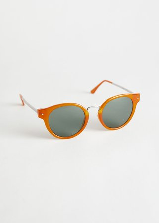 Rounded Gold Bridge Sunglasses - Amber - Round frame - & Other Stories