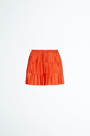 PLEATED MINI SKIRT | ZARA United States orange